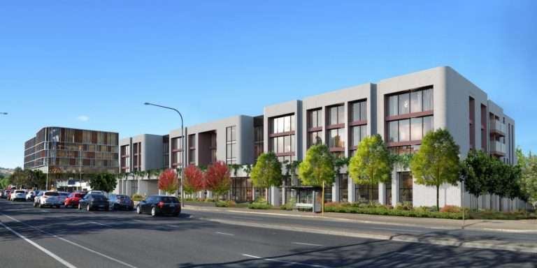 Render of multi story aged care living apartments with 4 lane road with cars in foreground